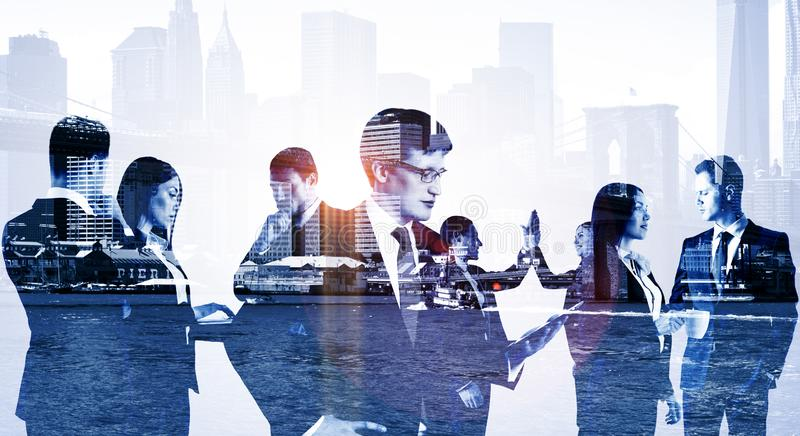 Double exposure of group of business people royalty free stock photo