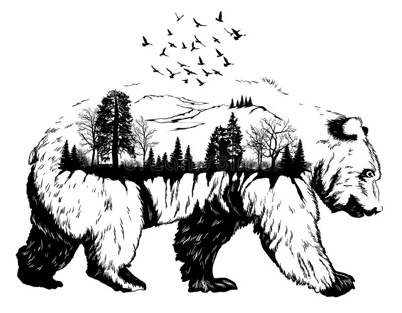 Double exposure, Hand drawn bear vector illustration