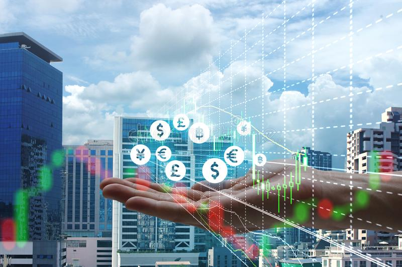 Double exposure of hand holding interface of Fintech and stock m stock photo