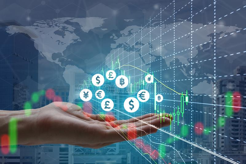 Double exposure of hand holding interface of Fintech and stock m royalty free stock images