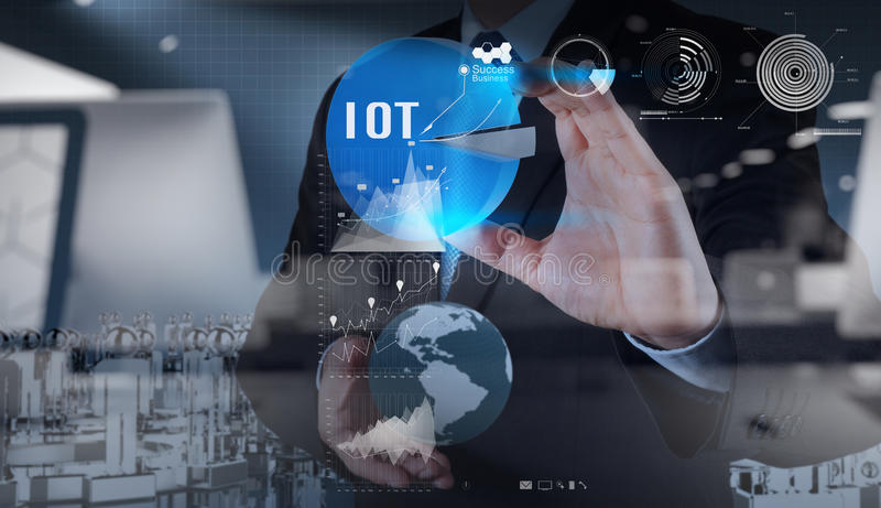Double exposure of hand showing Internet of things (IoT). Word diagram as concept vector illustration