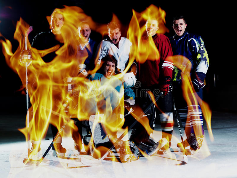 Double exposure of ice hockey players team meeting with trainer stock photography