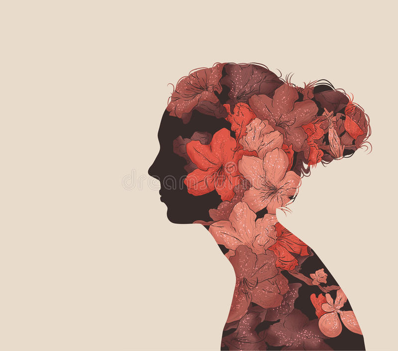 Double Exposure illustration. Hand drawn vector image in a double exposure style vector illustration