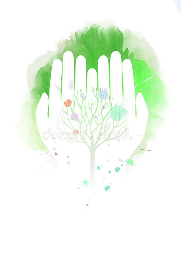 Double exposure illustration. Human hands holding tree symbol wi. Th watercolor. Concept illustration for environment care or help project. Digital art painting royalty free illustration