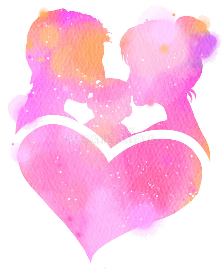 Double exposure illustration. Side view of Father and mother kissing their child baby with heart symbol silhouette plus abstract stock photography