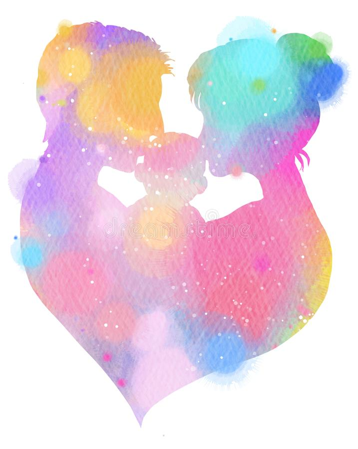Double exposure illustration. Side view of Father and mother kissing their child baby with heart symbol silhouette plus abstract. Water color painted. Digital royalty free illustration