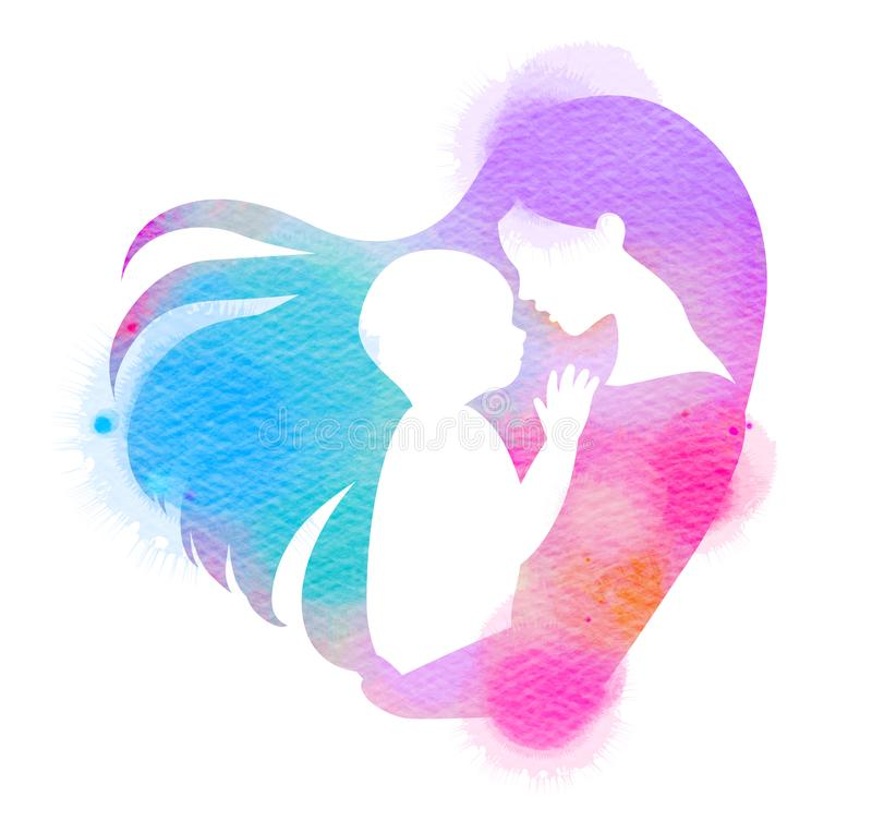 Double exposure illustration. Side view of Happy mom holding ado. Rable child baby silhouette plus abstract water color painted. Mother`s day. Digital art royalty free illustration