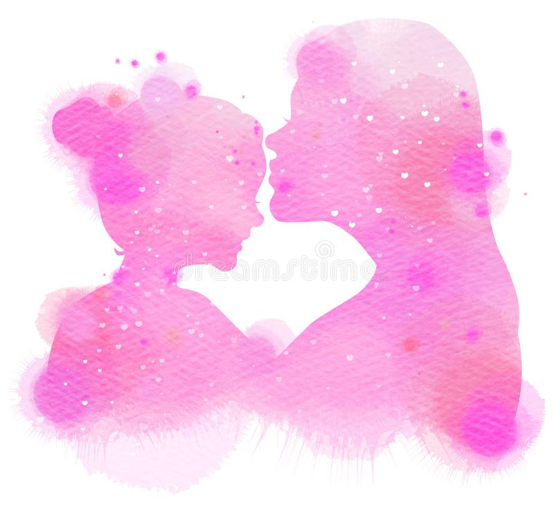 Double exposure illustration. Side view of Mother and baby silhouette plus abstract watercolor painted. Digital art painting stock illustration
