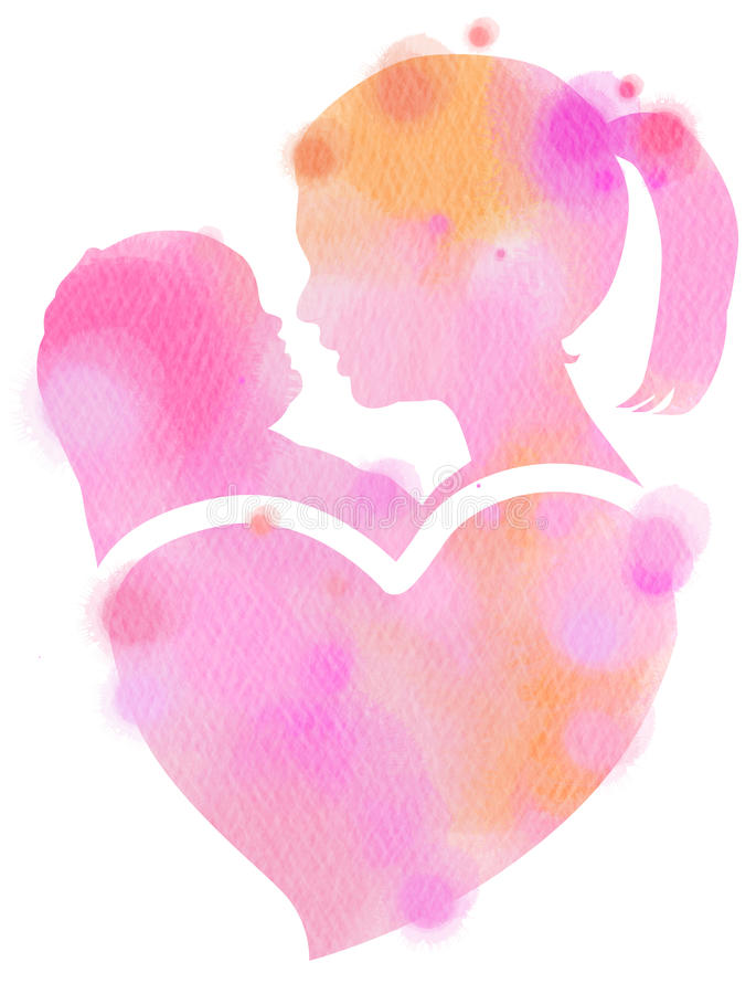 Double exposure illustration. Side view of mother holding adorable child baby silhouette plus abstract water color painted. royalty free illustration
