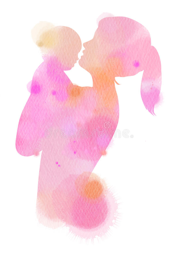 Double exposure illustration. Side view of mother holding adorable child baby silhouette plus abstract water color painted. vector illustration
