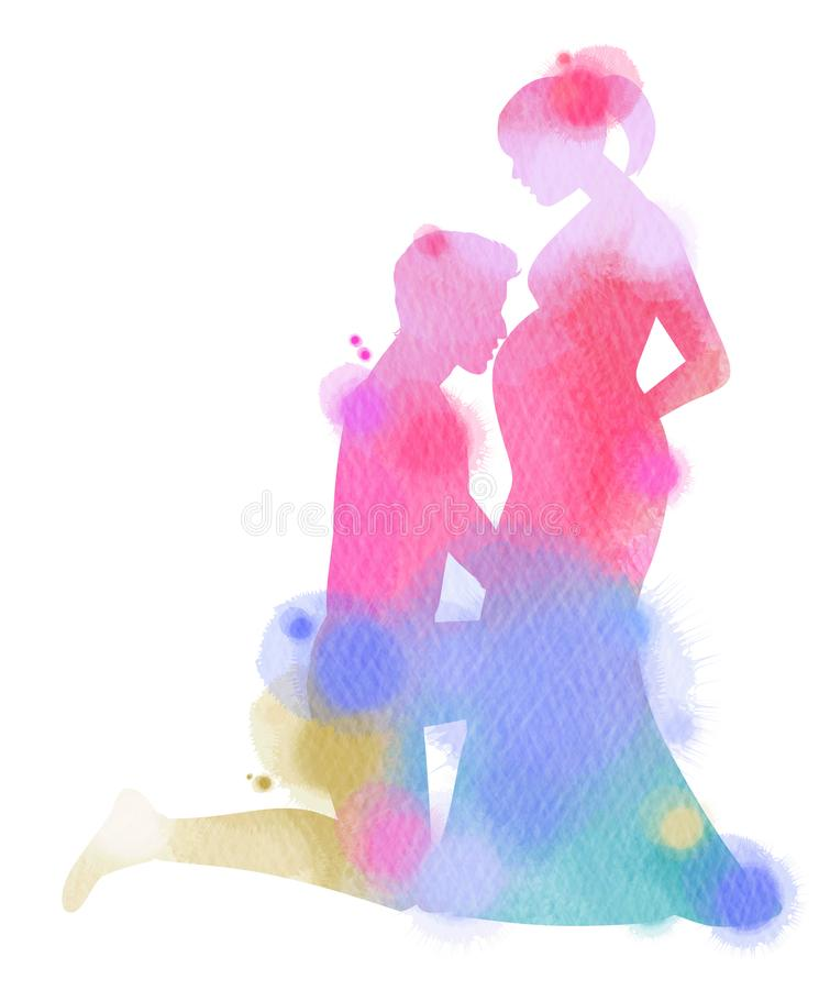 Double exposure illustration. Side view of young man kissing the. Double exposure illustration. e view of young man kissing the belly of his pregnant woman stock illustration