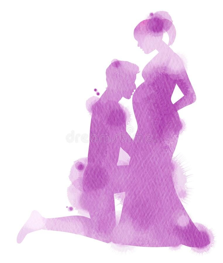 Double exposure illustration. Side view of young man kissing the. Belly of his pregnant woman silhouette plus abstract water color painted. Digital art painting royalty free illustration