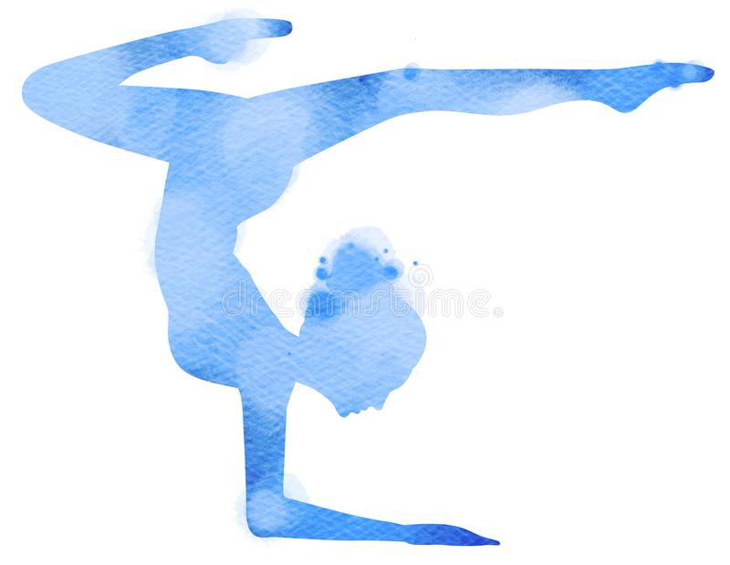 Double Exposure Illustration. Side view of Young Woman Doing Yoga Meditation and Stretching Exercises Silhouette plus Abstract Wa stock illustration