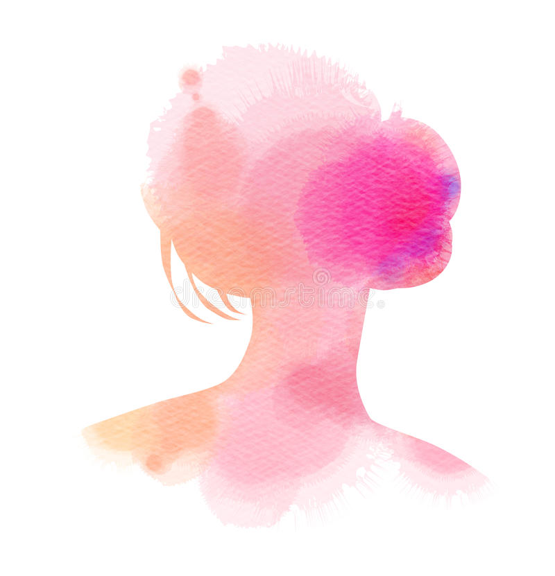 Double exposure illustration. Woman silhouette plus abstract watercolor. Digital art painting vector illustration