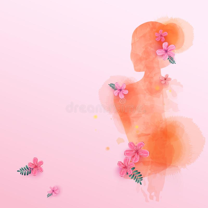 Double exposure illustration. Woman silhouette plus abstract water color painted. Digital art painting. Vector illustration. royalty free illustration