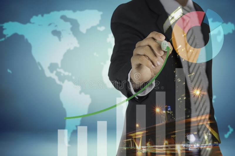 Double exposure of image of businessman drawing graph and night city, business strategy, finance, success and goal as concept on vector illustration