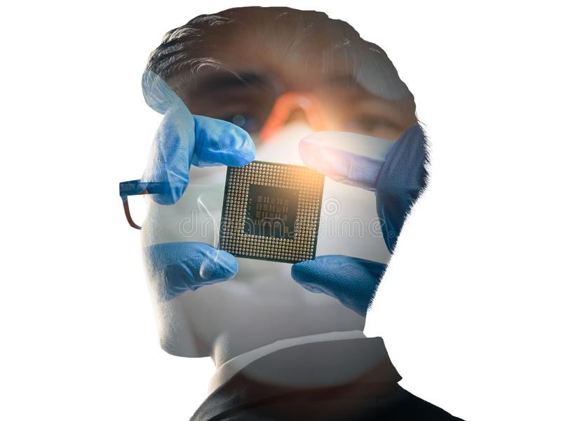 The double exposure image of the businessman standing overlay with the CPU installing image. the concept of AI, electronics, intel stock photos