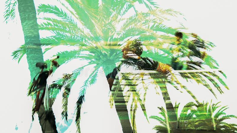 Double exposure image of tropic palms and old man sitting, memories of youth royalty free illustration