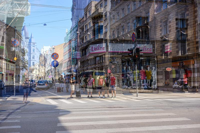 double exposure images of city life in summer stock photo