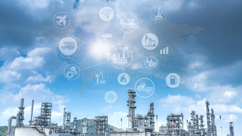 Double exposure of Industry oil and gas refinery concept. stock photography