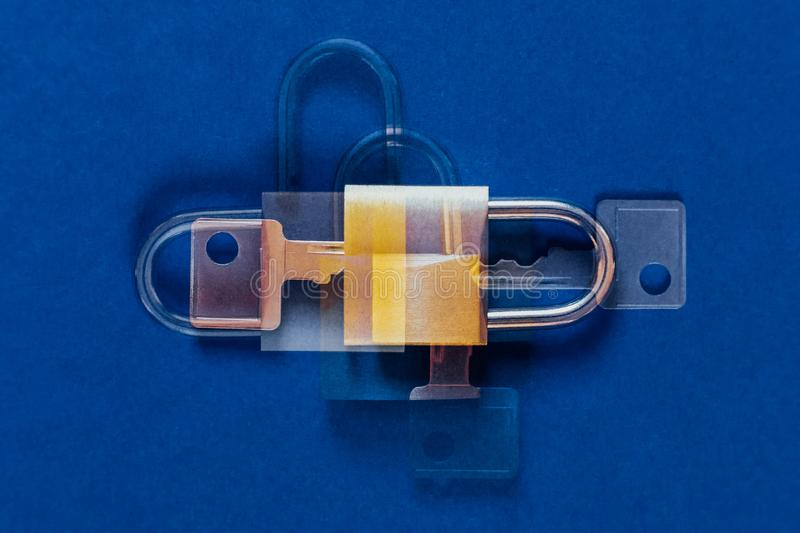 Double exposure lock as symbol for Privacy and General Data Protection Regulation. Lock as symbol for Privacy and General Data Protection Regulation as abstract stock photo