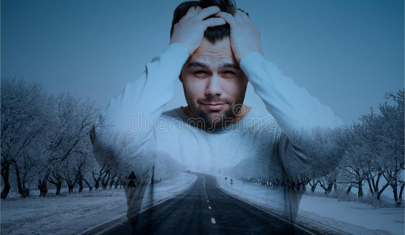 Double exposure of man with headache over road background. Double exposure of man with headache over road background stock photography