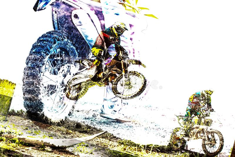 Double exposure with Man riding a motorcycle at speed stock photography