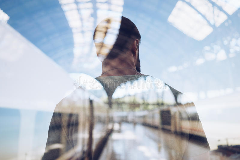 Double exposure of man royalty free stock photography