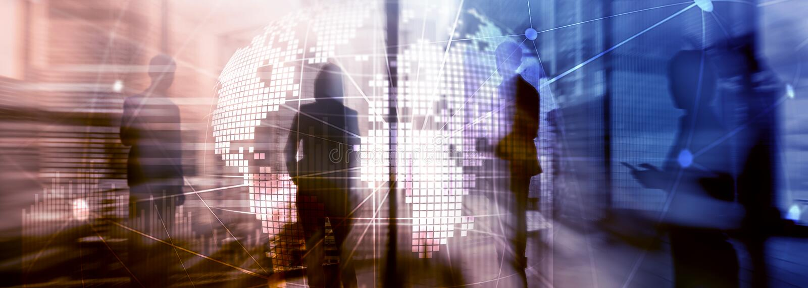 Double exposure mixed media. 3D Earth planet hologram and communication structure. World wide network and globalization concept.  stock image
