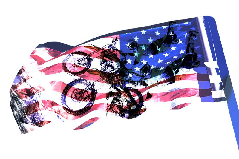 Double exposure motorcycle and USA flag. American independence day concept. Double exposure motorcycle and american flag. American independence day concept vector illustration