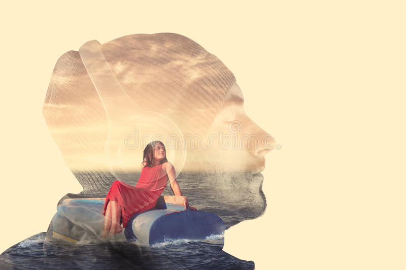Double exposure music. Double exposure with a men listening music on headphones and a little girl afloat stock images