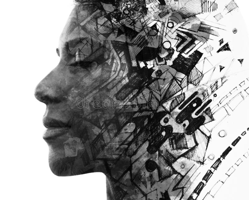Double exposure. Paintography. Close up portrait of an attractive woman with strong ethnic features combined with unusual hand royalty free illustration