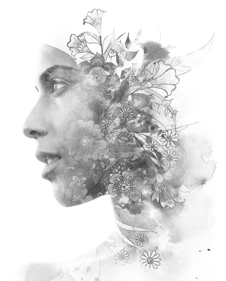Double exposure. Paintography. Close up profile portrait of an attractive woman with strong ethnic features combined with unusual royalty free illustration