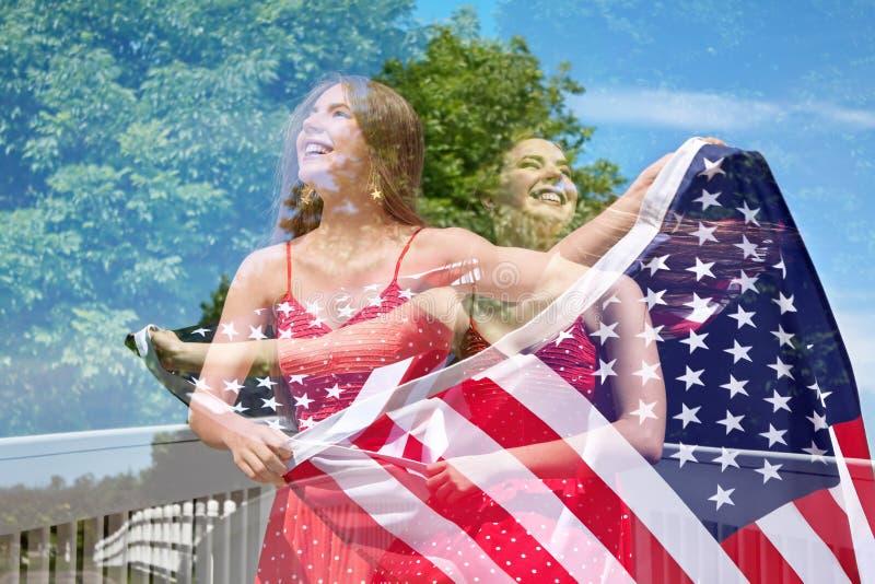 Double Exposure of Patriotic Woman stock photos