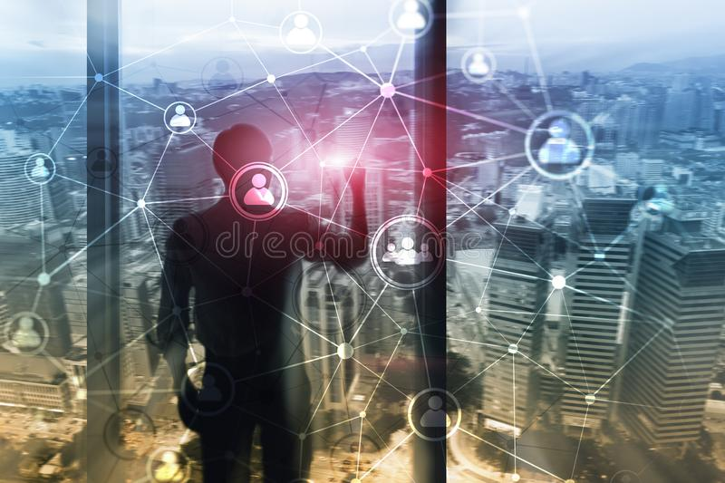 Double exposure people network structure HR - Human resources management and recruitment concept royalty free illustration
