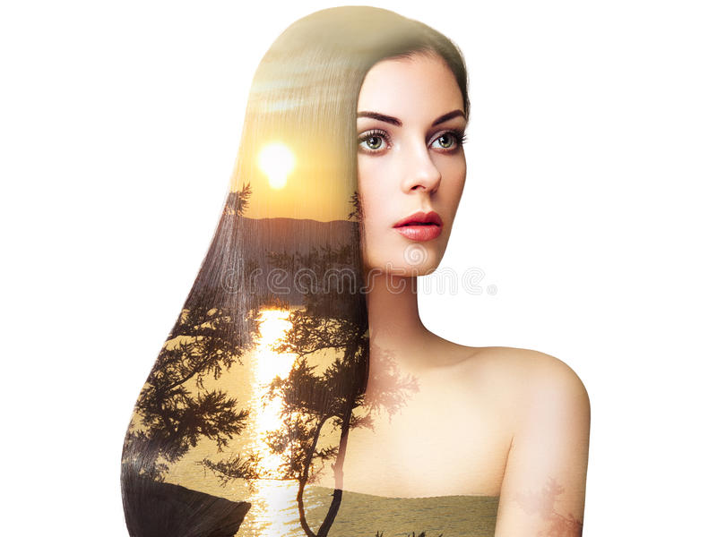 Double exposure photo of beautiful woman with long hair stock image