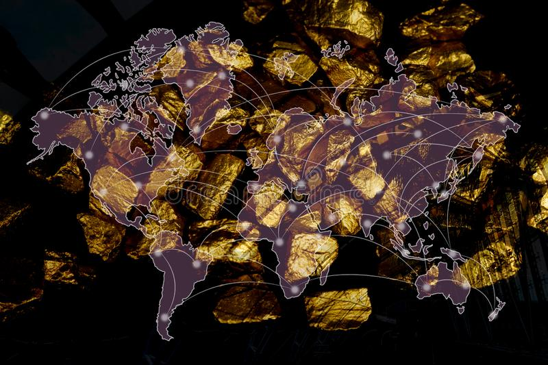Double exposure of pile of gold nuggets with city background and financial graph, world map and global network business concept, vector illustration