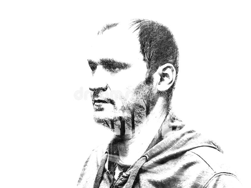 Double exposure of a portrait of a man with leaves and branches of a tree. Creative illustration of a man`s portrait. Double exposure of a portrait of a man stock illustration