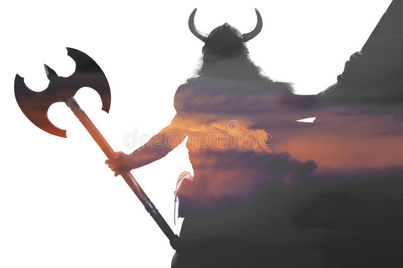 Double exposure portrait of a strong viking stock images