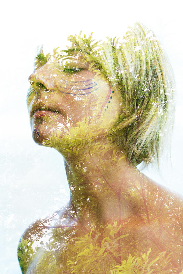 Double exposure portrait royalty free stock images