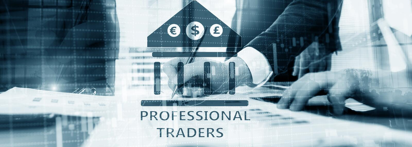 Double exposure of professional trader. Stock candles graph of stocks market.  royalty free stock image