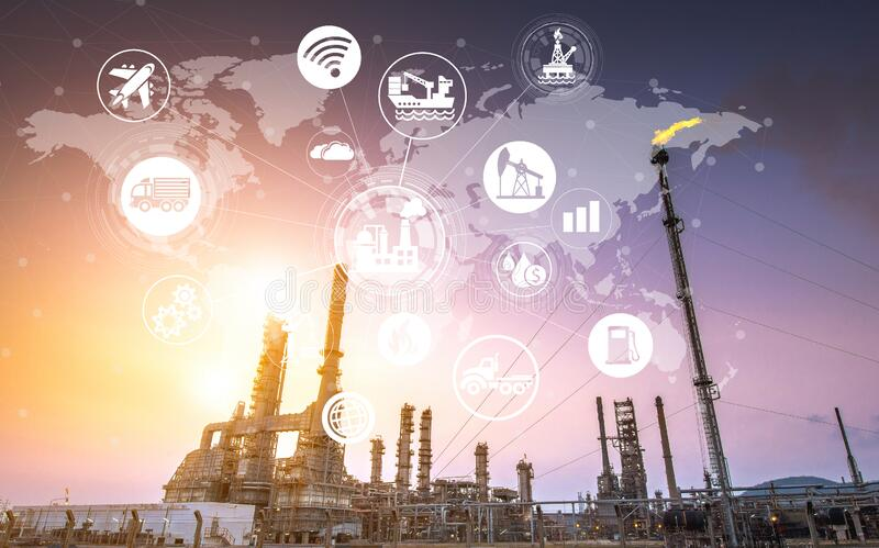 Industry oil and gas-Petrochemical refinery concept. royalty free stock photography