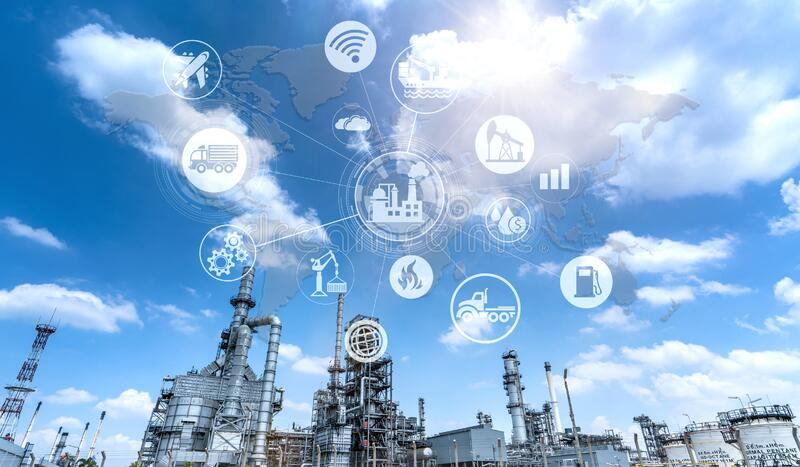 Industry oil and gas-Petrochemical refinery concept. royalty free stock image