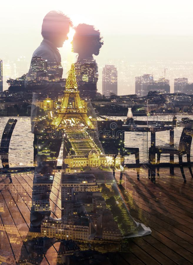 Double exposure Romantic couple royalty free stock images