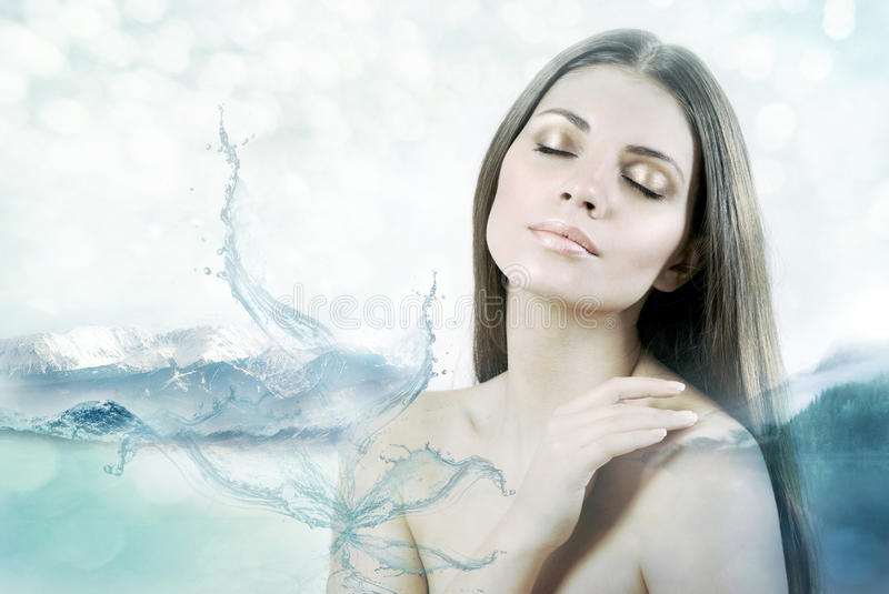 Double exposure of sensual young woman and mountains stock photo