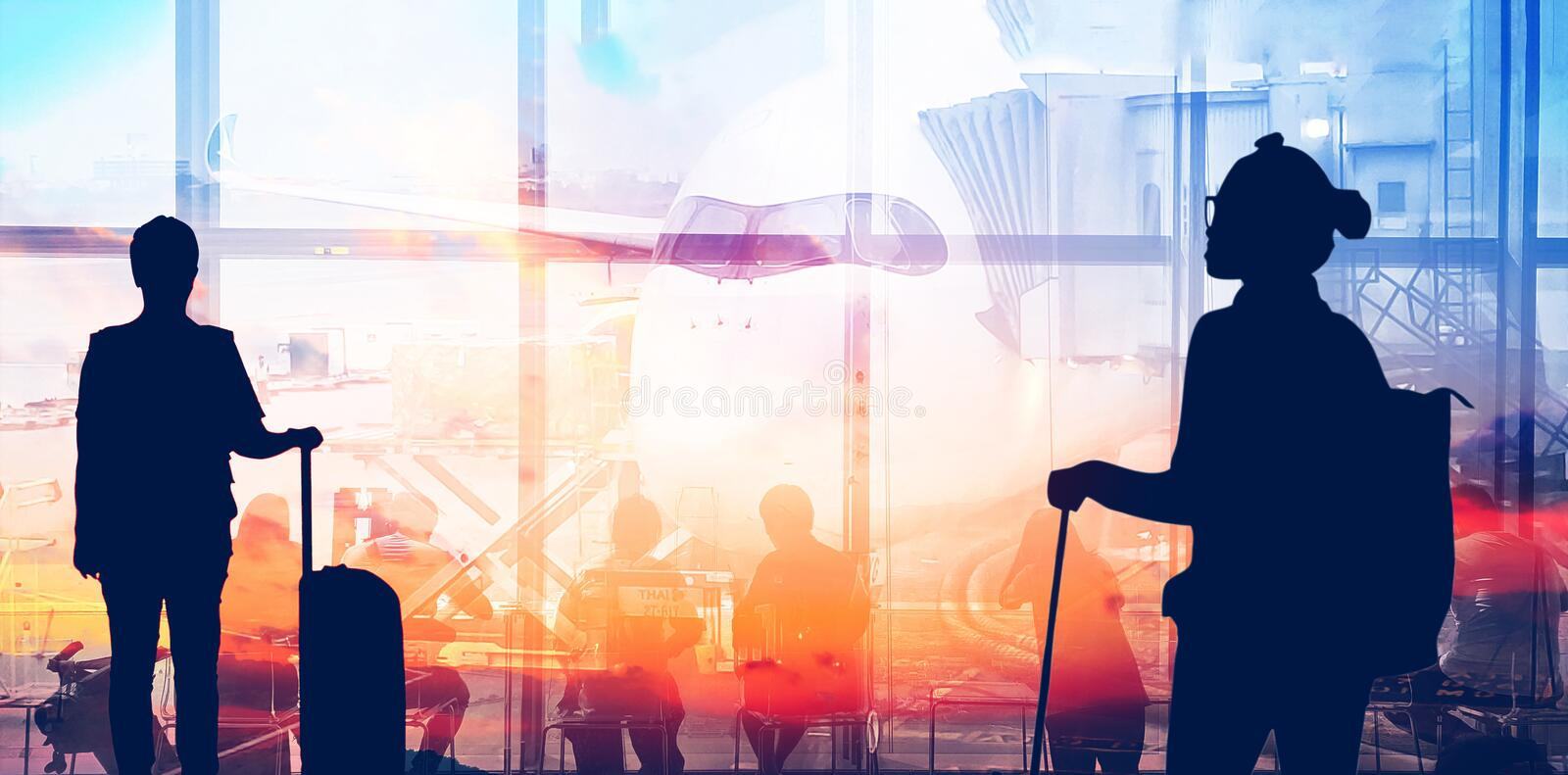 Double exposure silhouettes of passenger walking at airport with people. Business airline concept. Double exposure silhouettes of passenger walking at airport royalty free stock photo