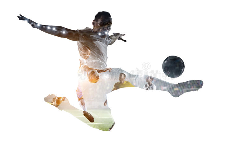 Soccer game background. Mixed media. Double exposure of soccer players on white background. Mixed media stock photo