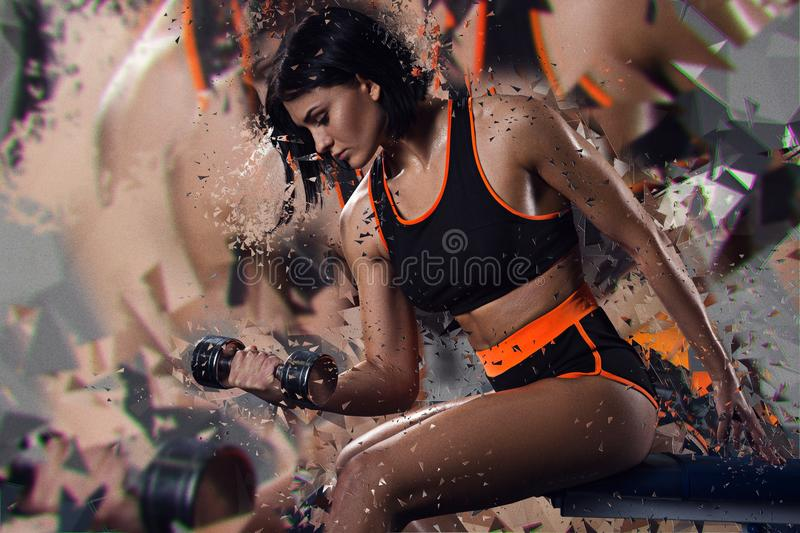 Double exposure of sporty woman with dumbbell. Transformation. Broken mirror royalty free stock photos