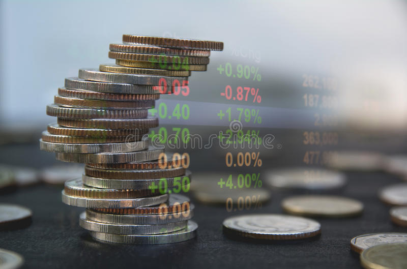 Double exposure stock financial indices with stack coin. Financial stock market in accounting market economy. stock photos