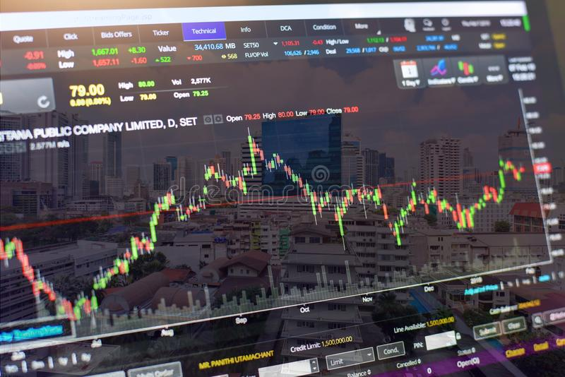Double Exposure of Stock Market with Cityscape Background stock photography